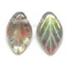 Glass Bead Leaf 11x7mm Black Diamond Strung Aurora Borealis